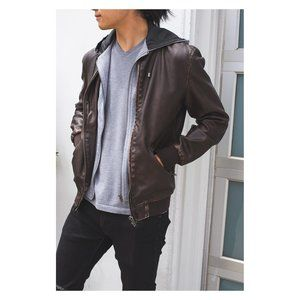 Zara Men's Brown Leather Jacket with Hood
